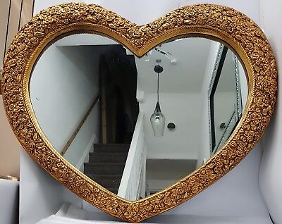Antique French Replica Love Heart Shape Large Wall Mirror  Gold 110x90x7cm