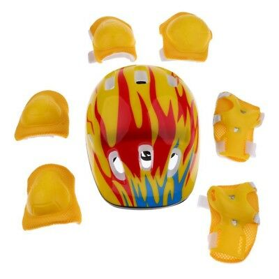 1X(7 Pieces Kids Children Roller Skating Scooter Bicycle Helmet Knee Elbow F4A3