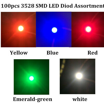100pcs SMD LED Assortment Diode 3528 1210 White Red Green Blue Yellow 20pcs each