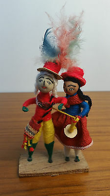 Red Hats Knitting Multi-Color Statue Handmade Tribal Folk Textile Needle Arts