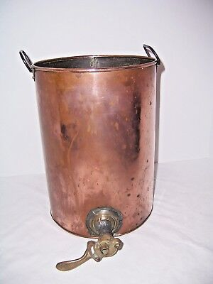 "Antq Copper Water Pot Dispenser 3+ Gal 12""x9"" dia Brass Spiket 2 Handled PatPnd"