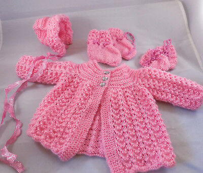 Baby Girl Pink Matinee Set Knitted Coat, Hat, Mittens and Booties 0-3 Months