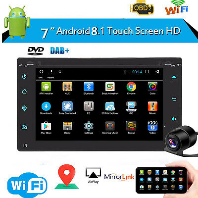 """Android 8.1 7"""" HD Double 2 DIN Car Stereo DVD CD Player Bluetooth Radio GPS Navi"""