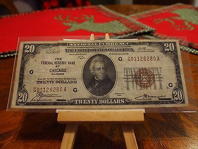 1929 Series $20 National Currency Note From The Frb Of Chicago Illinois V/f+