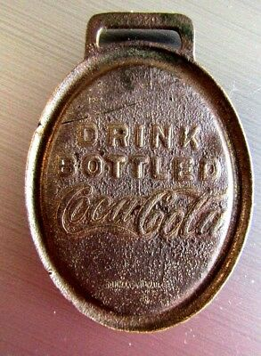 Old Cast Bronze Drink Bottled Coca Cola Watch Fob As Is Missing Mirror Rare