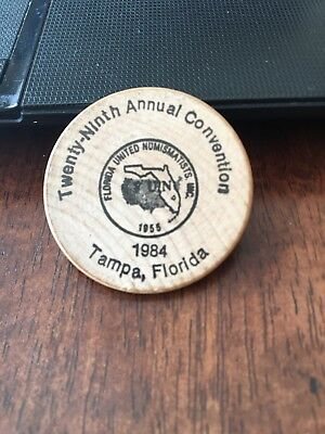 1984 Wooden Coin Florida United Numismatics Tampa Florida 29th Annual Convention