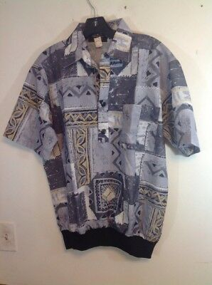 vintage deadstock 1980's shirt mens 80's short sleeve knit bottom poly medium m