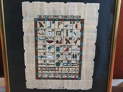 Egyptian Hieroglyphic Transliteration Chart on Papyrus Paper, Framed Under Glass