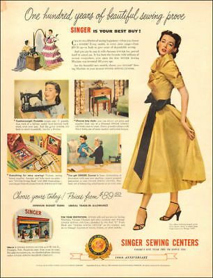 1951 vintage AD SINGER SEWING CENTERS Ballerina Party Dress modeled  101818