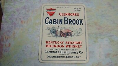 Whiskey Bottle Label 1940's Glenmore's Cabin Brook Bourbon Kentucky 1 Quart