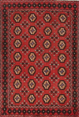 Semi Antique All Over Geometric Red 4x6 Old Balouch Afghan Oriental Area Rug