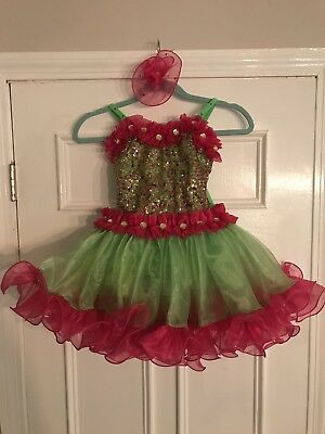 Pink & Green Little Girls Dance Costume Child Large Glamour Costumes GORGEOUS!