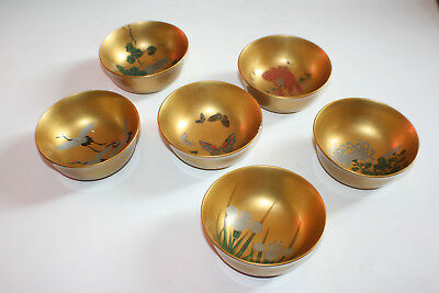 6 Pcs Chinese Wooden Gilt Lacquer and Painted Bowl