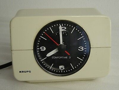 vintage 70's white Krups Comfortime 3 alarm clock Space Age Type 672