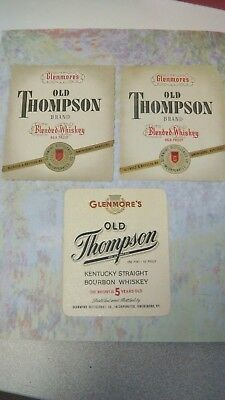 Lot 3 Whiskey Bottle Label 1940's Glenmore's Old Thompson Bourbon Kentucky