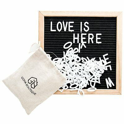 Felt Letter Board 10x10 Inch Changeable Characters 580 Tiles With Stand Black