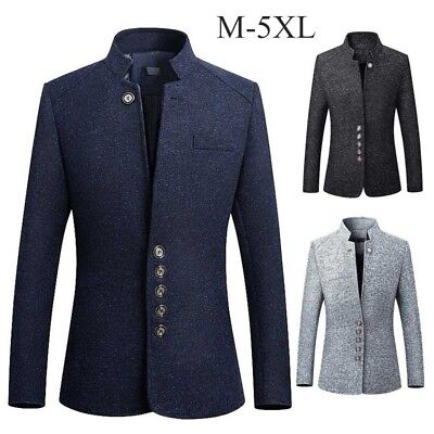 Mens Winter Trench Blazer Outwear Stand Collar Single Breasted Coat Slim Outwear
