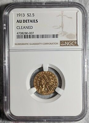 1913 Indian Head $2 1/2 Gold Coin NGC AU Details Cleaned
