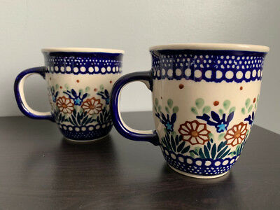 BOLESLAWIEC Pair of Polish Pottery Mugs about 9 oz Floral Pattern Coffee / Tea