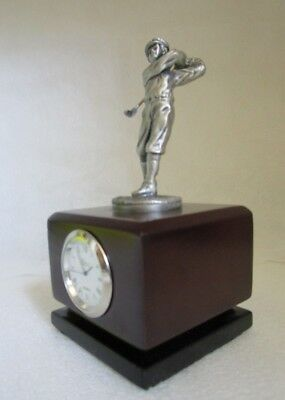VINTAGE Pewter Golfer Battery operated Cherry Wood Finish CLOCK Desk Man Cave!