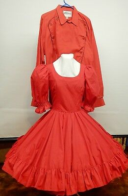 3 Piece Red Square Dance Dress With Matching Skirt