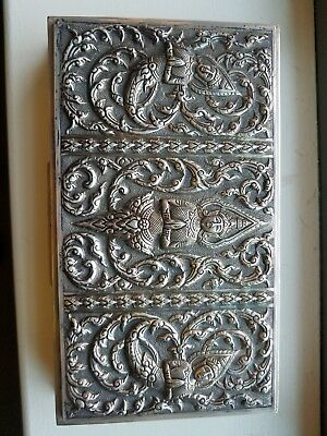 Antique Sterling Silver Repousse Large Jewelry Box Siam Thai Goddesses