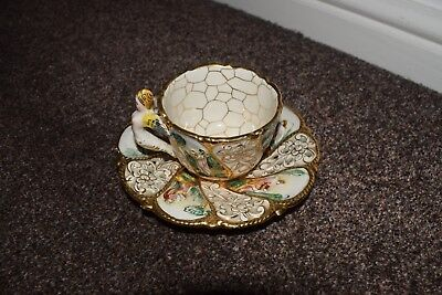 Outstanding ornate Italian made cup and saucer old item in VGC