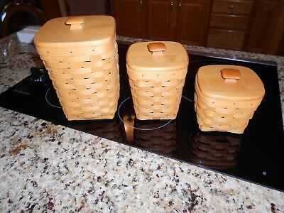 "Set Of 3 1998 Longaberger Basket Canister Sets included 8"" & 6"" & 4"" BASKET SETS"