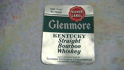 Whiskey Bottle Label 1940's Glenmore Silver Label Bourbon Owensboro Kentucky