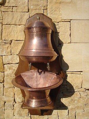 French   Solid Hammered Copper Water Fountain Hand Wash Basin Lavabo Antique Sin