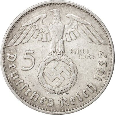 One (1) WW2 German 5 Mark Silver Coin Third Reich Reichsmark Large Swastika