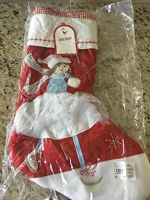 Pottery Barn Kids Classic Red Girl Ice Skater Christmas  Stocking New Fast Ship!
