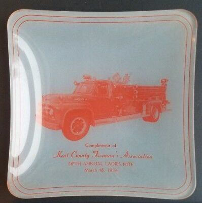 Vintage 1954 Delaware Advertising Ashtray Kent County Firemans Association