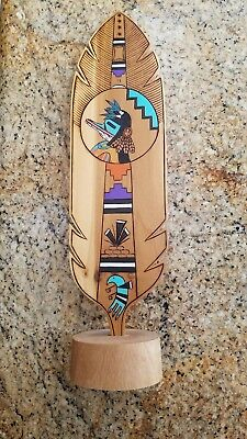 "Hopi Carved Prayer Feather 12"" Randy Dukepoo"