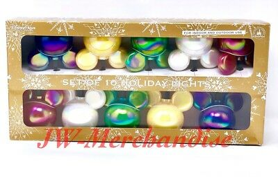 New Disney Parks Set Of 10 Multi Colors Mickey Icon Christmas Holiday Lights