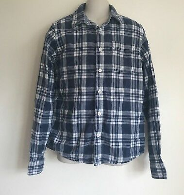 Boys Fat Face Blue Check Long Sleeve Relaxed Shirt Size 12-13 Years