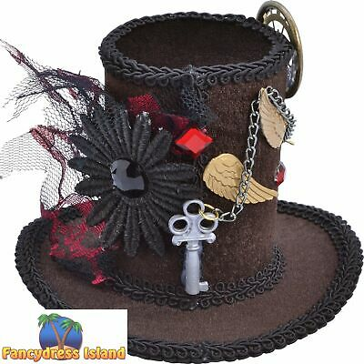 STEAMPUNK HALLOWEEN MINI TALL TOP HAT - womens ladies fancy dress costume