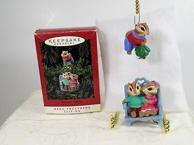 Hallmark Keepsake 1994 chipmunk Ornament MISTLETOE SURPRISE clipon hang together