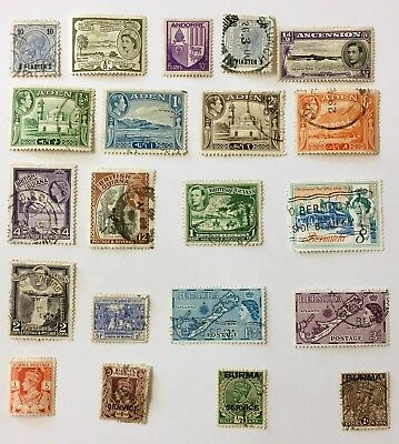 Collection of 21 British Colonies Stamps Including Aden / Burma