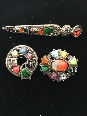 Lot of 3 Vintage MIRACLE Orange Gem & Multi Colour Glass Kilt Pin/ 2 Brooches