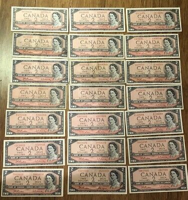 Lot of 21 1954 2 Dollar Bank of Canada Two Dollar Bank Notes Various Serial #'s