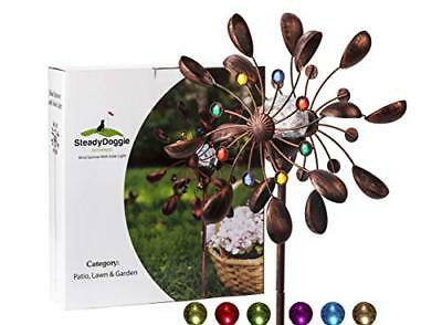 SteadyDoggie Solar Wind Spinner Jewel Cup 75in Multi-Color LED Light Solar ...