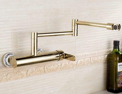 Bathroom Kitchen Sink Faucet Swivel Spout Nozzle Tap Wall Mount Mixer Brass Gold