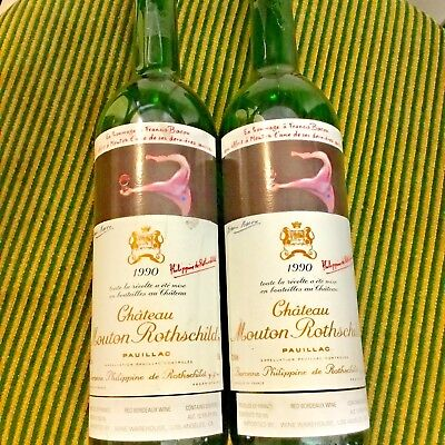 (2) Chateau Mouton Rothschild-1990 - Empty Bottles-One With Cork