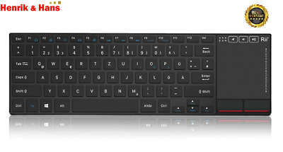 Rii K22 Funk Kabellos MultiMedia Tastatur mit Touchpad Wireless Keyboard Deutsch