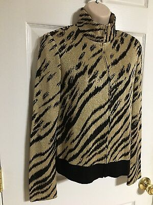 St. John Collection Marie Gray Santana Knit Gold & Black Sparkle Zip Up Jacket P