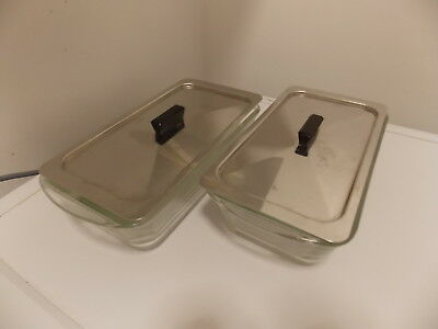 2 x Original Glasbake J522, 1 1/2 QT, Hostess Trolley Dishes And Lids,  Myref=03