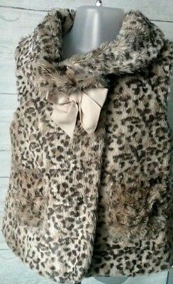 Baby Girls Faux Fur Animal Print Gilet 18-23 months