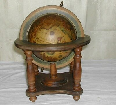 """Vintage Small World Globe IN LATIN On Wood Stand 10"""" High"""