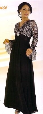 Mother of Bride or Groom Dress, Formal Party Evening Long Gown Black/Silver 6